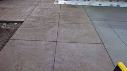 Part of a stamped concrete driveway that was installed in Sacramento, California